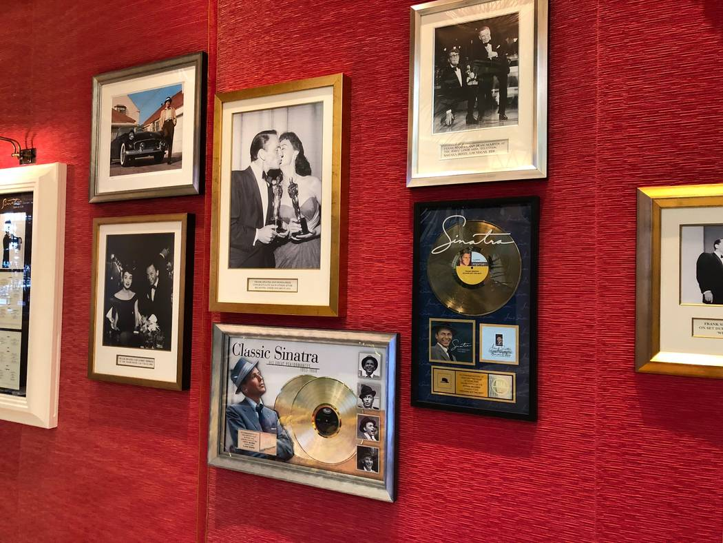 """A new Frank Sinatra exhibit at Encore replaces his 1954 Oscar for Best Supporting Actor in """"From Here to Eternity,"""" one of his 11 Grammys and an Emmy. (Norm Clarke)"""