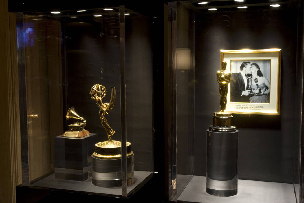 Grammy, Emmy and Oscar awards on loan from the Sinatra estate are shown at the entrance to Sinatra restaurant at Encore on March 6, 2010. (K.M. Cannon/Las Vegas Review-Journal)