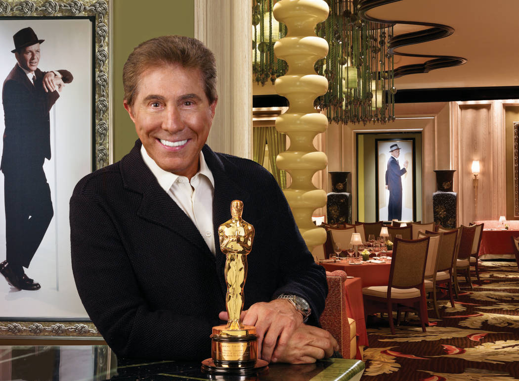 "Steve Wynn stands next to the Oscar that Frank Sinatra won in 1954 for his performance in ""From Here to Eternity"" while at Sinatra's restaurant inside Encore in this undated file photograph. Encor ..."