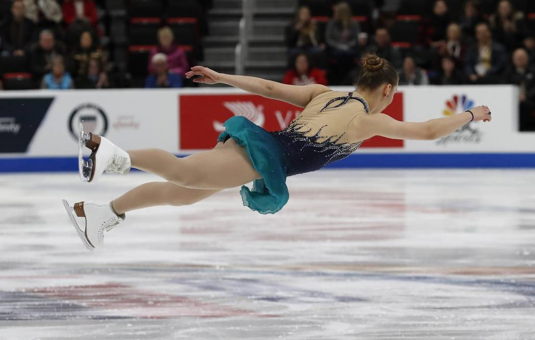 Courtney Hicks performs in the ladies short program during the U.S. Figure Skating Championships, Thursday, Jan. 24, 2019, in Detroit. (AP Photo/Carlos Osorio)