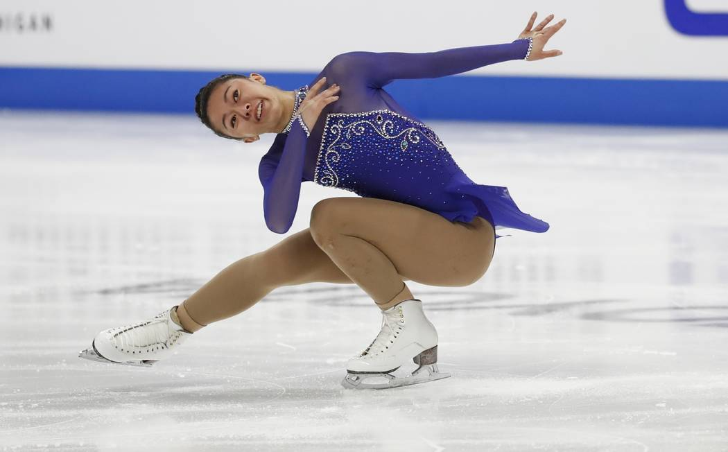 Sierra Venetta performs during the women's short program during the U.S. Figure Skating Championships, Thursday, Jan. 24, 2019, in Detroit. (AP Photo/Carlos Osorio)