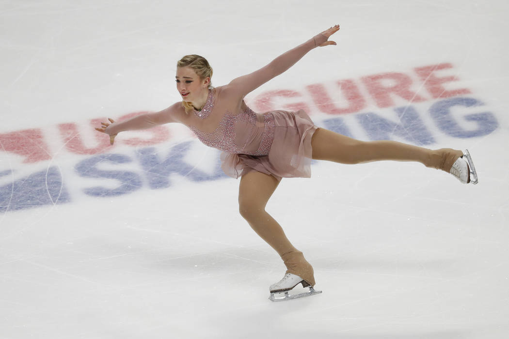 Amber Glenn performs her women's short program at the U.S. Figure Skating Championships, Thursday, Jan. 24, 2019, in Detroit. (AP Photo/Paul Sancya)