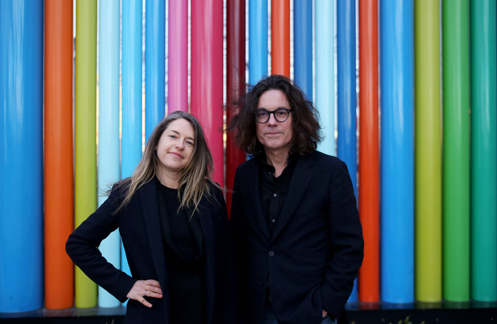 Heather Harmon, the deputy director of the Nevada Museum of Art, and David Walker, the CEO of the Nevada Museum of Art at Symphony Park near where the new museum is being built in Las Vegas, Monda ...