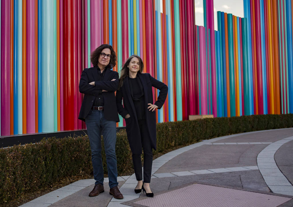 David Walker, the CEO of the Nevada Museum of Art, and Heather Harmon, the deputy director of the Nevada Museum of Art at Symphony Park near where the new museum is being built in Las Vegas, Monda ...