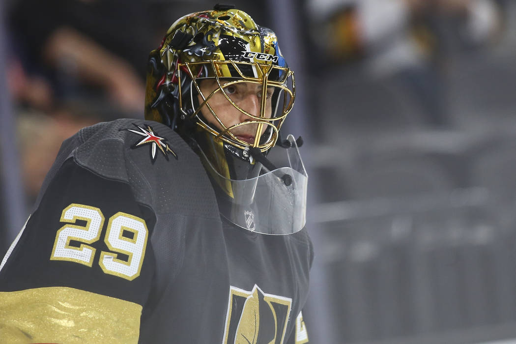 Golden Knights goaltender Marc-Andre Fleury (29) looks on during the second  period c45a0dba4