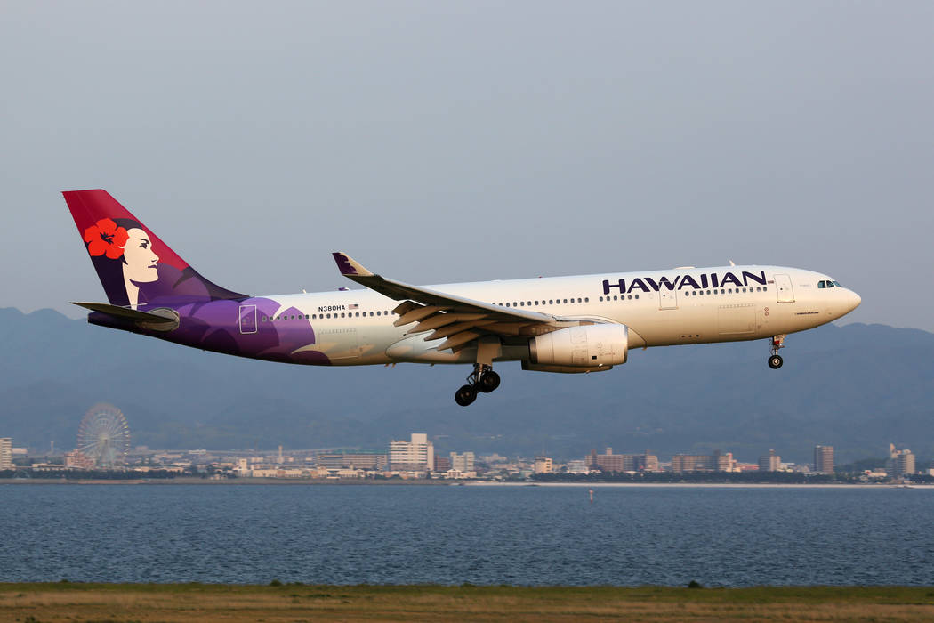 A Hawaiian Airlines Airbus A330 200 With The Registration N380HA Approaching Osaka Kansai Airport