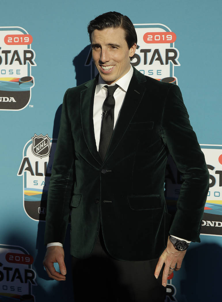 Vegas Golden Knights' Marc-Andre Fleury poses for photos before the Skills Competition for the NHL All Star game festivities in San Jose, Calif., Friday, Jan. 25, 2019. The game is scheduled for S ...
