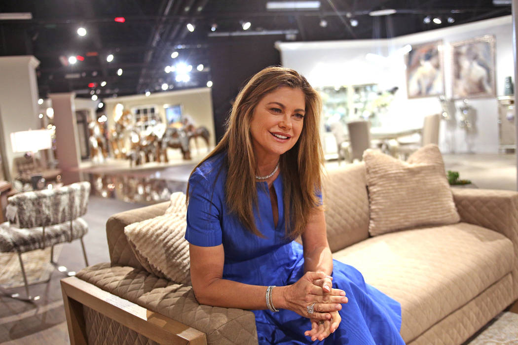Kathy Ireland speaks to the Review-Journal about her venture into home design at the Las Vegas Winter Market at the World Market Center in Las Vegas, Sunday, Jan. 27, 2019. (Rachel Aston/Las Vegas ...