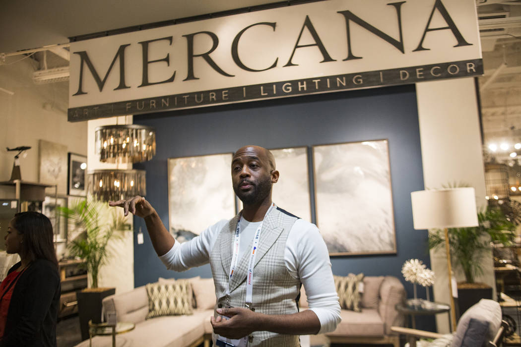 Interior designer Mikel Welch leads Tour the Trends at the Las Vegas Winter Market at World Market Center in Las Vegas, Sunday, Jan. 27, 2019. Welch does set designs for celebrities as well as hig ...