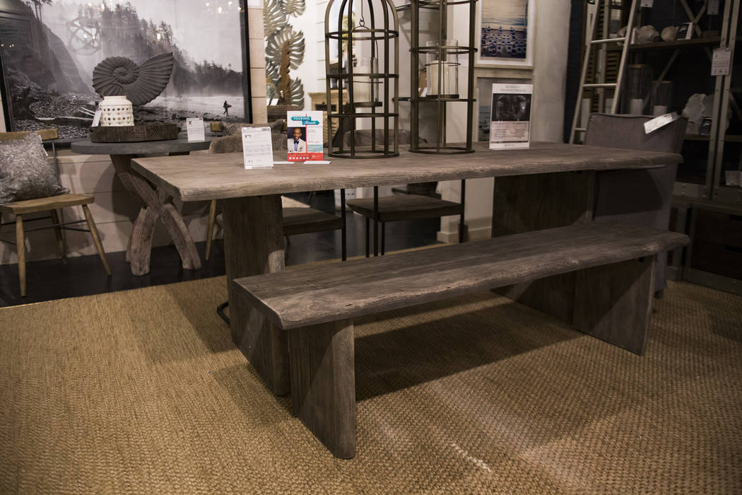 Interior designer Mikel Welch's pick of an ash gray table on at the Mercana showroom the Tour the Trends at the Las Vegas Winter Market at World Market Center in Las Vegas, Sunday, Jan. 27, 2019. ...