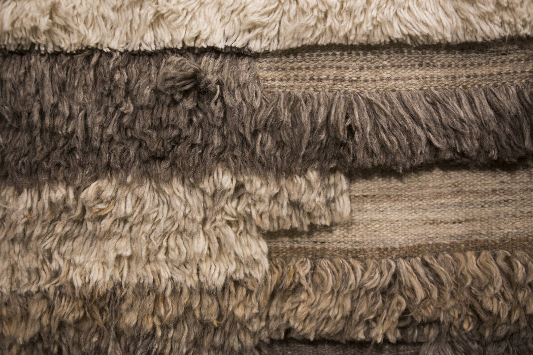 A rug that is a part of the Abbot Collection by Ellen DeGeneres at the Loloi showroom and picked by Mikel Welch on Tour the Trends at the Las Vegas Winter Market at World Market Center in Las Vega ...