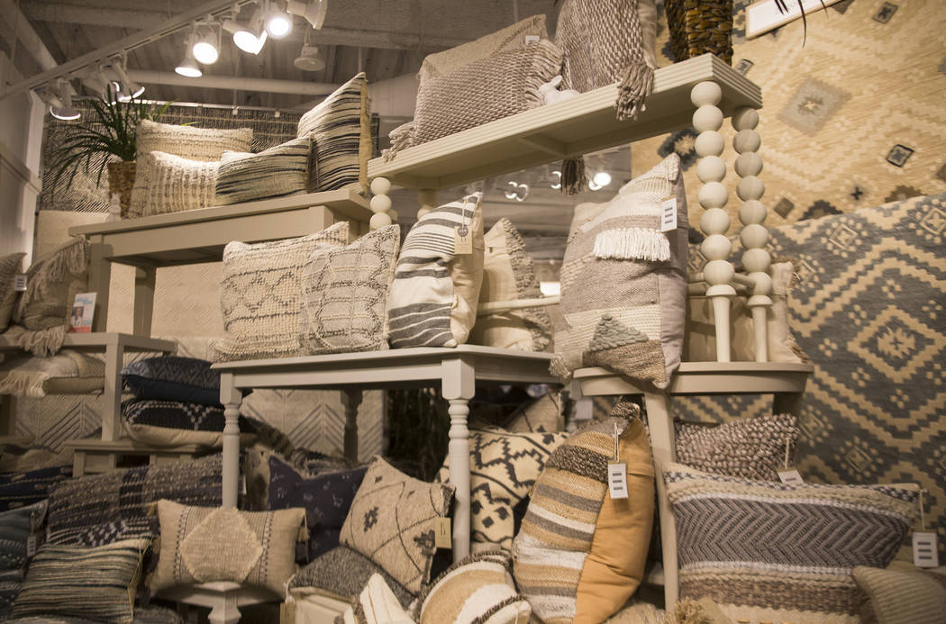 Pillows from the Abbot Collection by Ellen DeGeneres at the Loloi showroom on Tour the Trends, featuring interior designer Mikel Welch's picks, at the Las Vegas Winter Market at World Market Cente ...