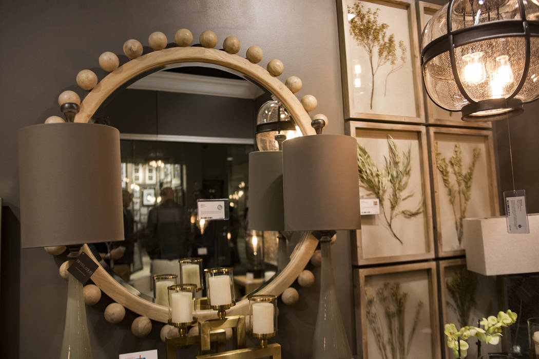 A mirror picked by interior designer Mikel Welch for Tour the Trends at the Revelation by Uttermost showroom at the Las Vegas Winter Market at World Market Center in Las Vegas, Sunday, Jan. 27, 20 ...