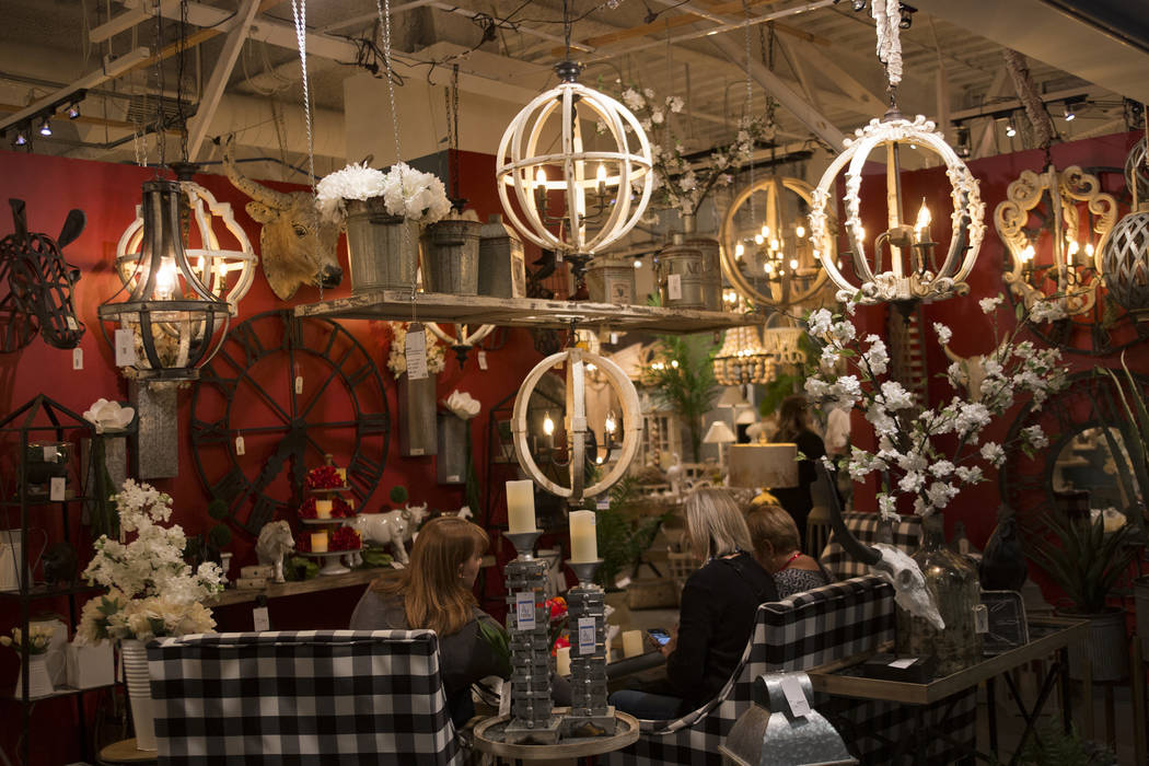 The A & B showroom at the Las Vegas Winter Market at World Market Center in Las Vegas, Sunday, Jan. 27, 2019. According to interior designer Mikel Welch, a trend for this market is statement l ...