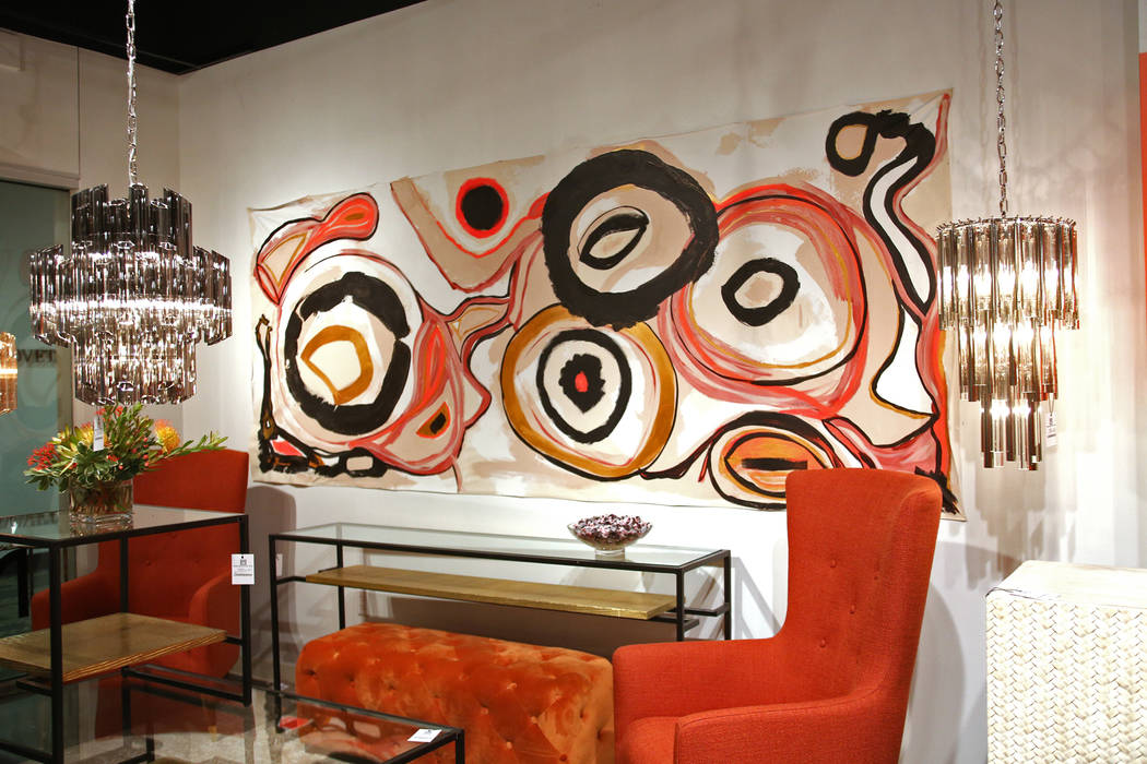 Abstract art at the Meva showroom at the Las Vegas Winter Market at World Market Center in Las Vegas, Sunday, Jan. 27, 2019. According interior designer Mikel Welch, one of the trends for this mar ...