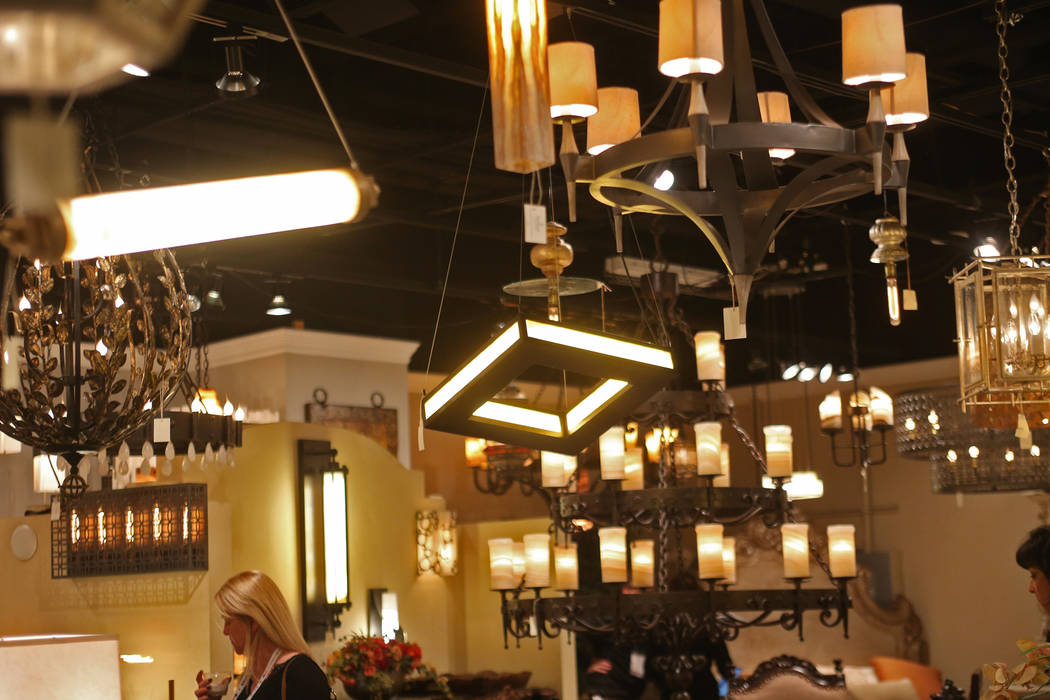 Light fixtures at the Casa Bonita showroom at the Las Vegas Winter Market at World Market Center in Las Vegas, Sunday, Jan. 27, 2019. According interior designer Mikel Welch, one fo the trends for ...