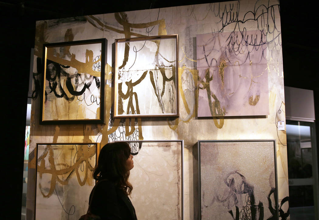 Abstract art on the First Look showroom tour at Las Vegas Market at the World Market Center in Las Vegas, Monday, Jan. 28, 2019. According to curator Julie Smith Vincenti, abstract art is a growin ...