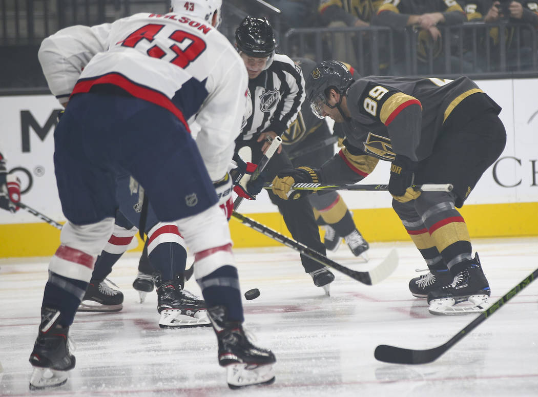 Golden Knights right wing Alex Tuch (89) during a face off against the Washington Capitals during the first period of an NHL hockey game at T-Mobile Arena in Las Vegas on Tuesday, Dec. 4, 2018. Ch ...