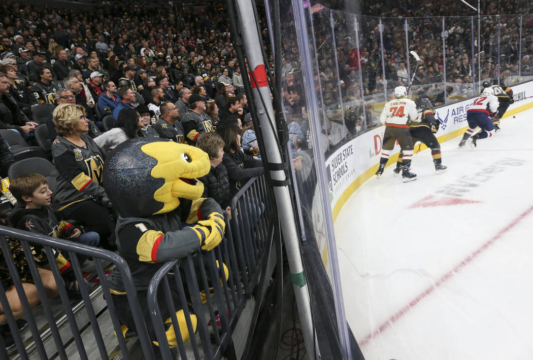 Golden Knights mascot Chance watches the action during the third period of an NHL hockey game against the Washington Capitals at T-Mobile Arena in Las Vegas on Tuesday, Dec. 4, 2018. Chase Stevens ...