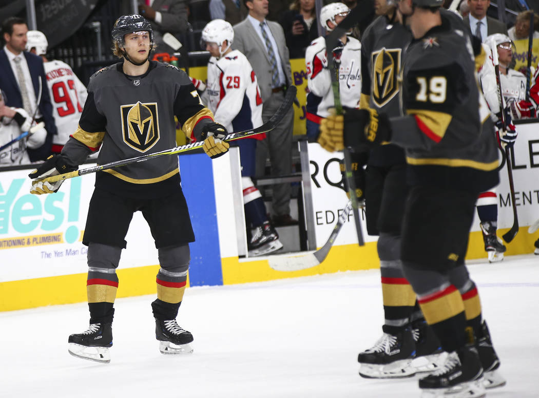 Golden Knights center William Karlsson (71) looks to his teammates during the first period of an NHL hockey game against the Washington Capitals at T-Mobile Arena in Las Vegas on Tuesday, Dec. 4, ...