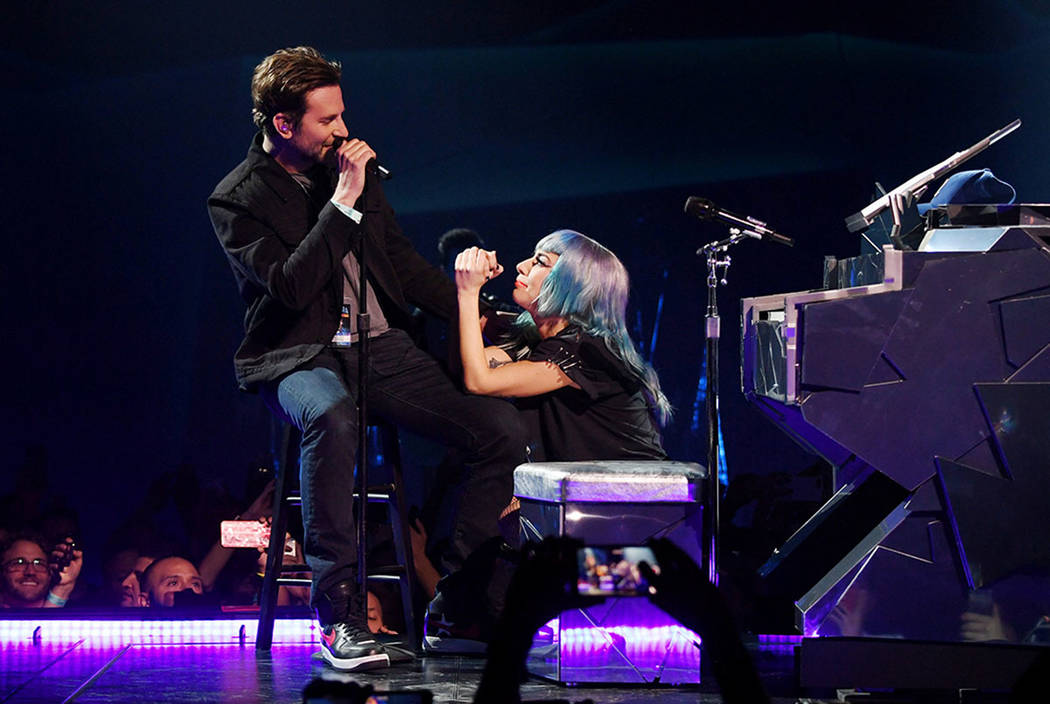 Bradley Cooper takes the stage during Lady Gaga's show at Park Theater in Las Vegas on Saturday, Jan. 26, 2019. (Denise Truscello)