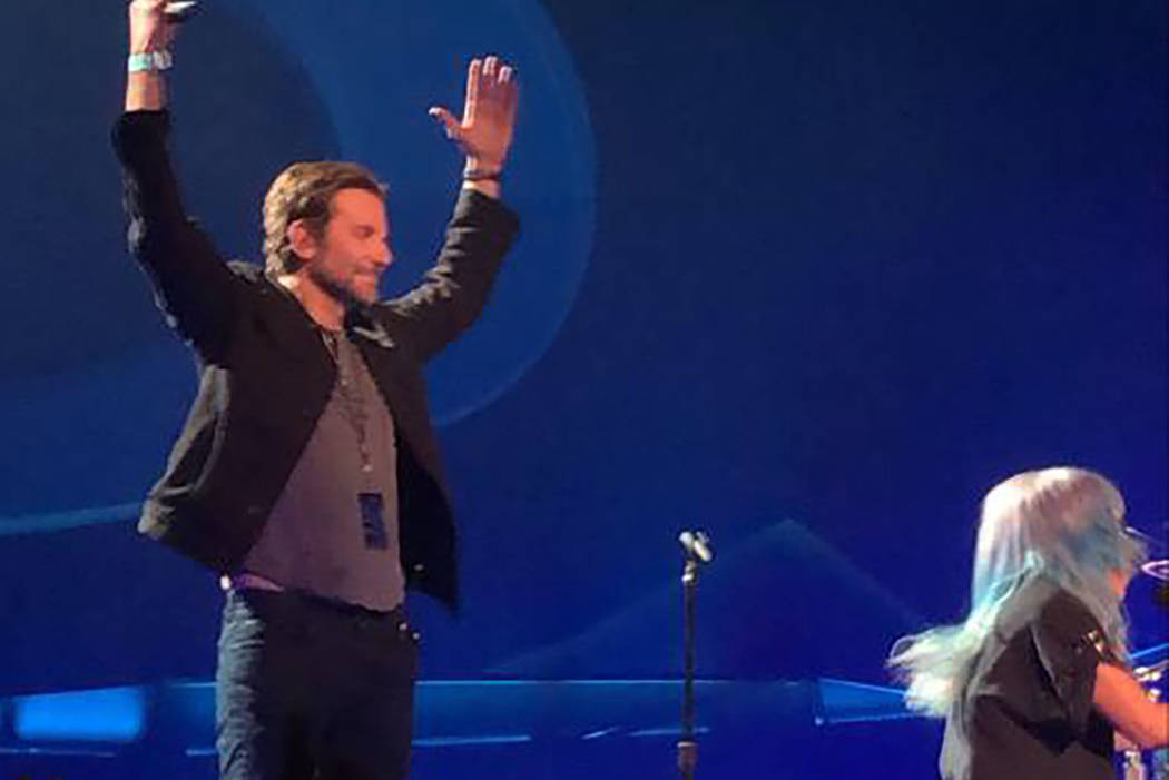 Bradley Cooper takes the stage during Lady Gaga's show at Park Theater in Las Vegas on Saturday, Jan. 26, 2019. (Courtesy)