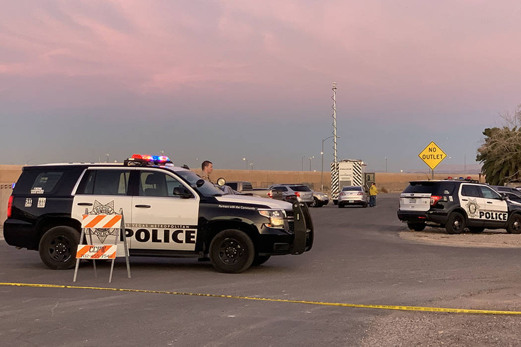 Las Vegas police investigate an officer-involved shooting in the area of Badura Avenue on Sunday, Jan. 27, 2019. (Kimber Laux/Las Vegas Review-Journal)