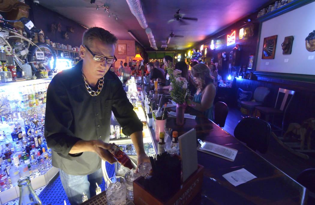Co-owner Derek Stonebarger mixes drinks at Rebar at 1225 S. Main St. in Las Vegas Aug. 27. Bill Hughes/View