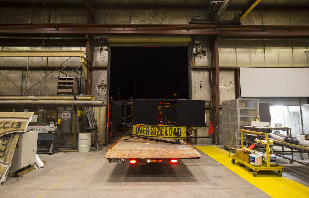 The base of the Hard Rock Cafe guitar sign is loaded onto a truck at YESCO before being transported to the Neon Museum in Las Vegas on Monday, Jan. 28, 2019. Chase Stevens Las Vegas Review-Journal ...
