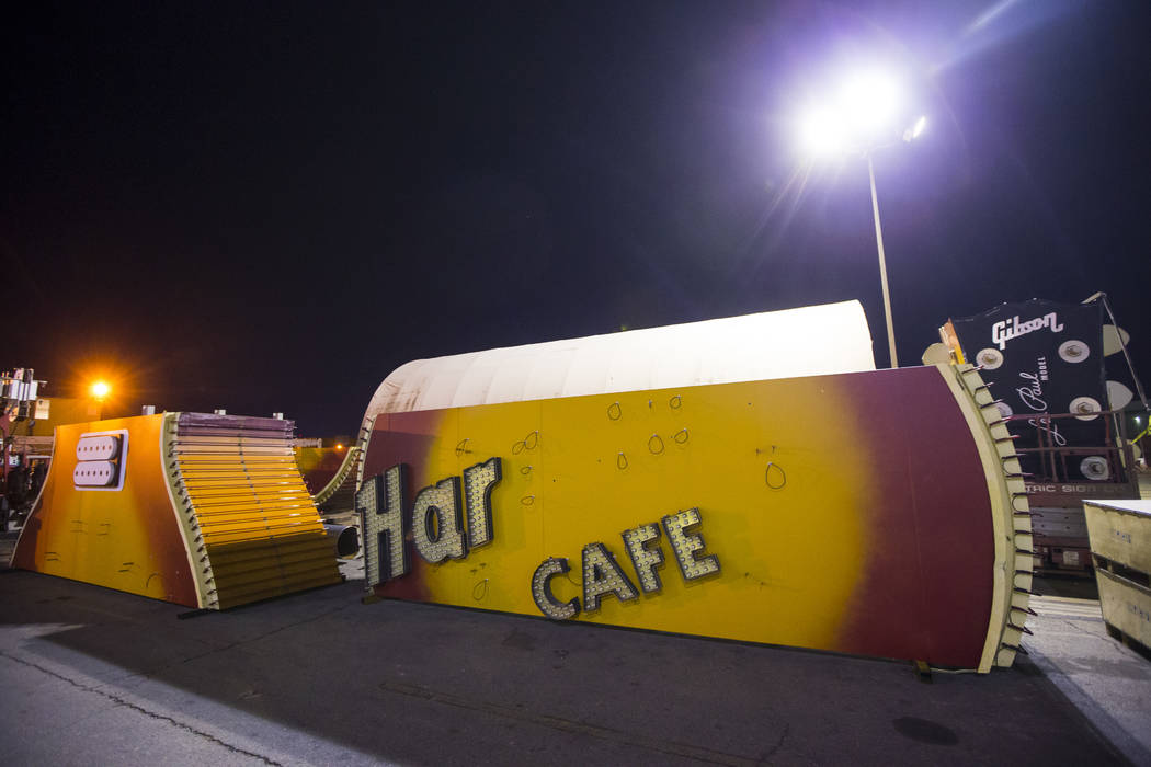 Pieces of the Hard Rock Cafe guitar sign at YESCO before being transported to the Neon Museum in Las Vegas on Monday, Jan. 28, 2019. Chase Stevens Las Vegas Review-Journal @csstevensphoto