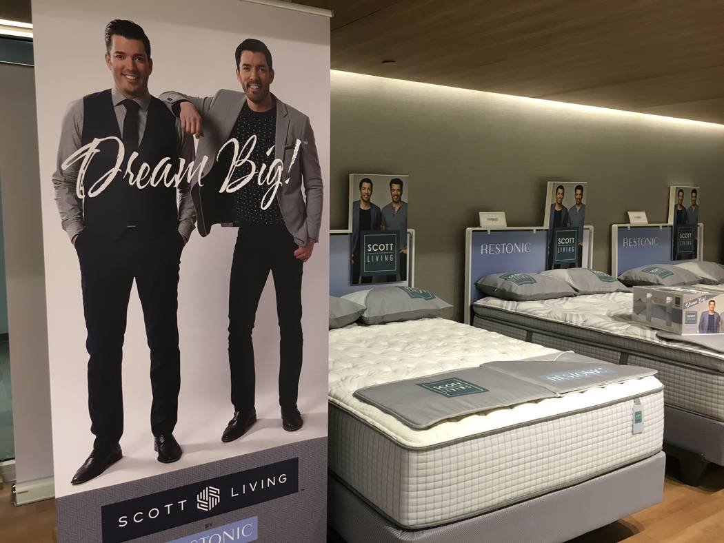 The Restonic showroom at World Market Center features images of Drew and Jonathan Scott, who have announced a line of bedding with the company. (John Przybys/Las Vegas Review-Journal)