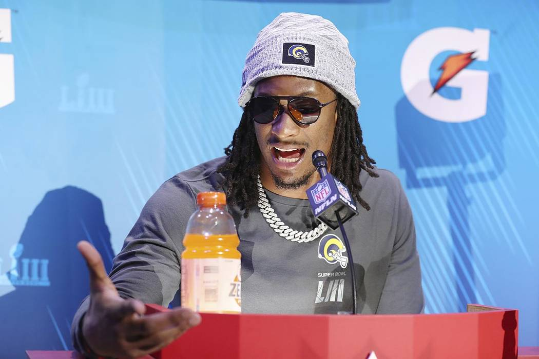 Los Angeles Rams running back Todd Gurley answers questions during opening night for the NFL Super Bowl 53 football game at State Farm Arena, Monday, Jan. 28, 2019, in Atlanta. (AP Photo/Steve Luc ...
