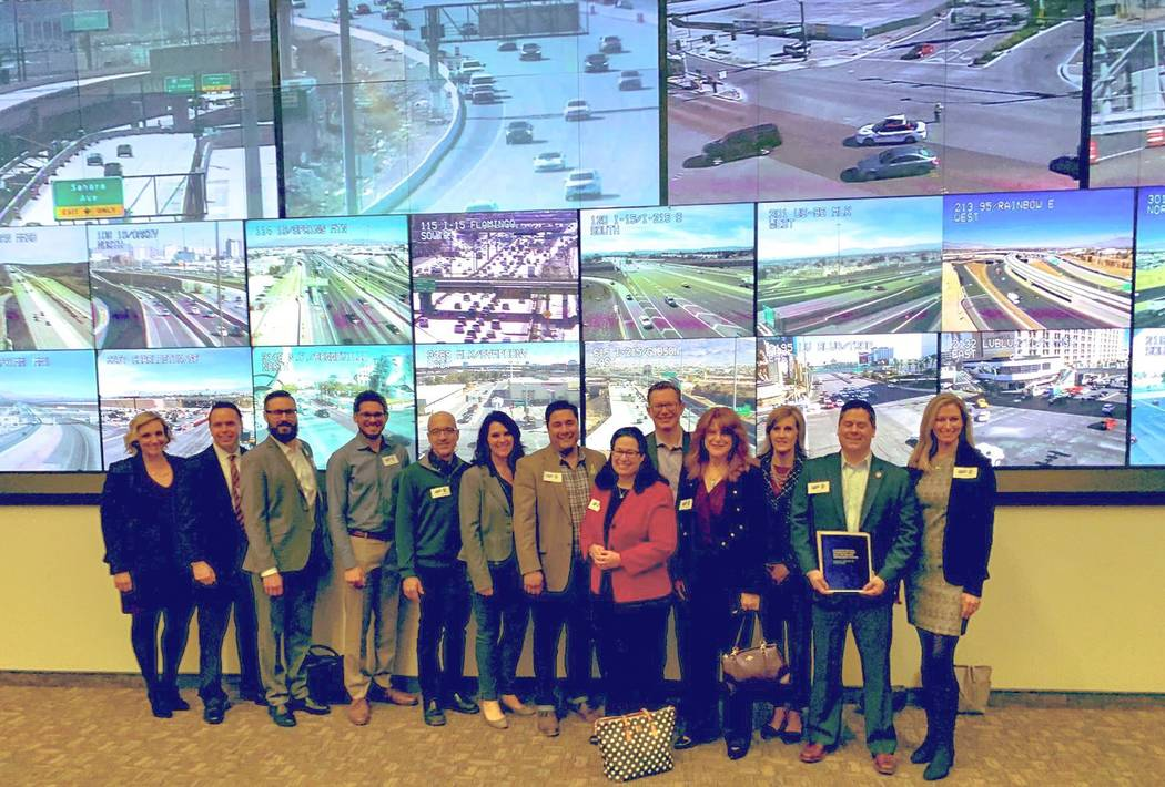 The Nevada Tech Caucus toured the Regional Transportation Commission of Southern Nevada's traffic management center on Jan. 28, 2019, receiving updates on various technology-related transportation ...