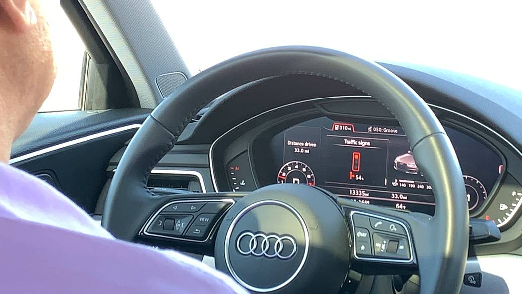 """Shital Patel, manager of traffic operations and project management, demonstrates Audi's """"Countdown-to-Green"""" program, Jan. 28, 2019. (Mick Akers/Las Vegas Review-Journal)"""