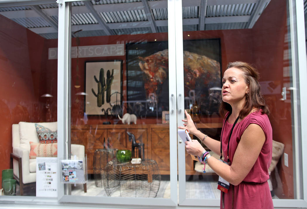 Julie Smith Vincenti leads a First Look showroom tour at Las Vegas Market at the World Market Center in Las Vegas, Monday, Jan. 28, 2019. According to Vincenti, this display case shows a growing t ...