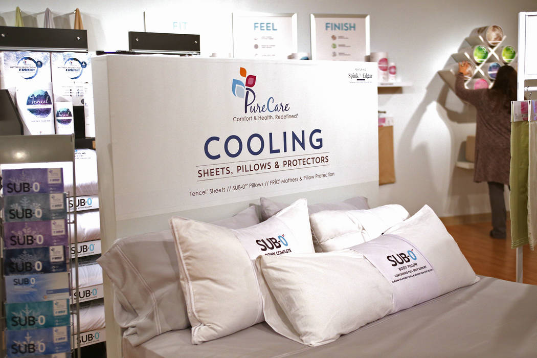 PureCare's cooling bedding at Las Vegas Market at the World Market Center in Las Vegas, Monday, Jan. 28, 2019. A trend that has continued for the past five years is cooling technology in bedding. ...
