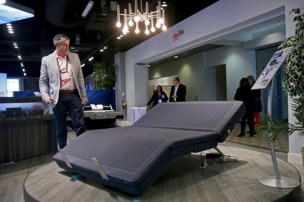 President David Jaffe of Rize shows the Aviada adjustable bed at the Las Vegas Market at the World Market Center in Las Vegas, Monday, Jan. 28, 2019. The mattress offers inversion positioning, mas ...