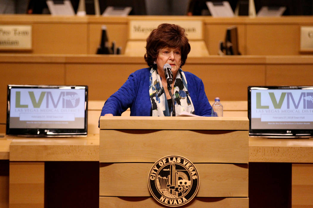 Las Vegas Councilwoman Lois Tarkanian welcomes medical professionals to Meet the New Face of Health Care in Southern Nevada town hall meeting at Las Vegas City Hall Tuesday, Feb. 27, 2018. K.M. Ca ...