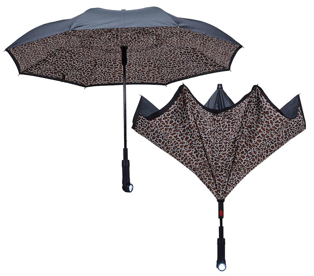 Mark Feldstein & Associates Inc. Revers-A-Brella Inverted Auto No Drip Umbrella with Flashlight