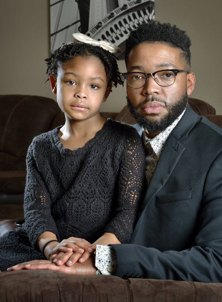 Brooklynn Murray, 7, is shown with her father Dwayne at their home in Las Vegas on Monday, Jan. 28, 2019. The Murrays won a $42 million settlement against Centennial Hills Hospital after a jury ru ...
