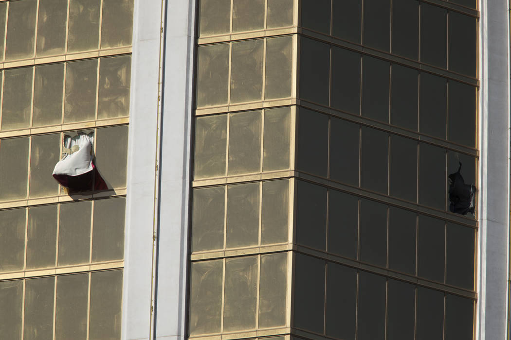 Broken windows at Mandalay Bay in Las Vegas on Oct. 2, 2017, after a shooting left 58 concertgoers dead. Richard Brian Las Vegas Review-Journal @VegasPhotograph