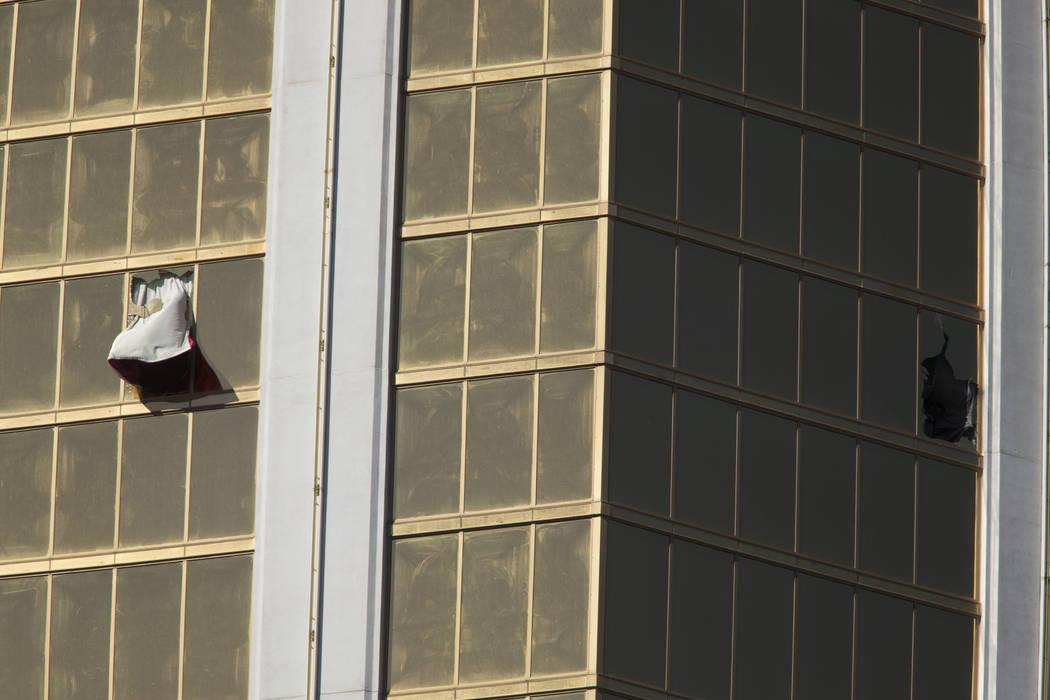 Broken windows at Mandalay Bay in Las Vegas on Oct. 2, 2017, after a shooting left 58 concertgoers dead. Richard Brian Las Vegas Review-Journal @VegasPhotograph