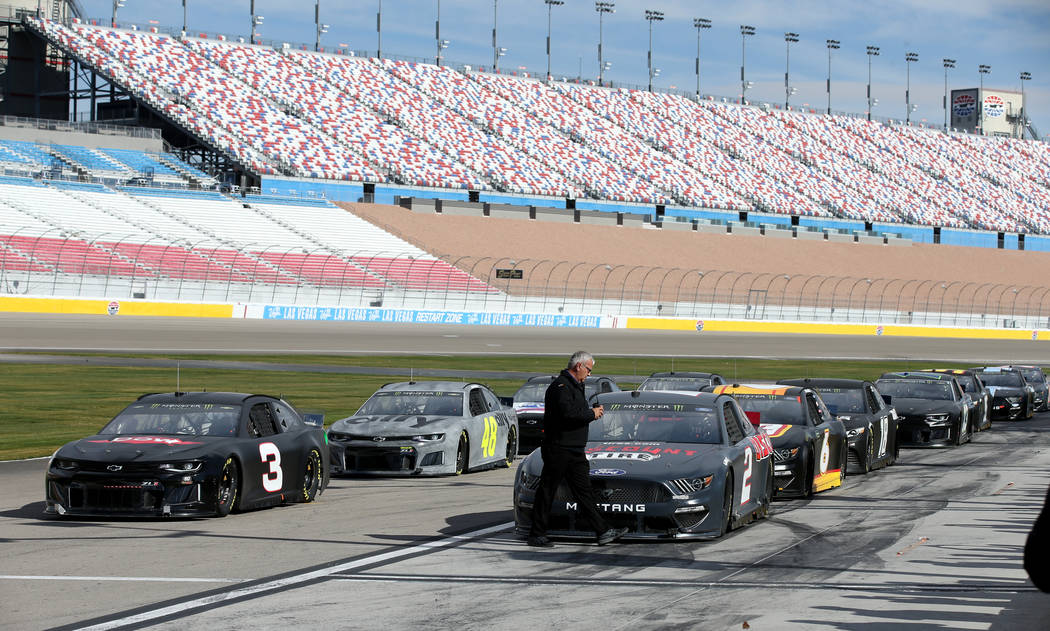 NASCAR drivers line up for a run during testing at Las Vegas Motor Speedway Thursday, Jan. 31, 2019. (K.M. Cannon/Las Vegas Review-Journal) @KMCannonPhoto