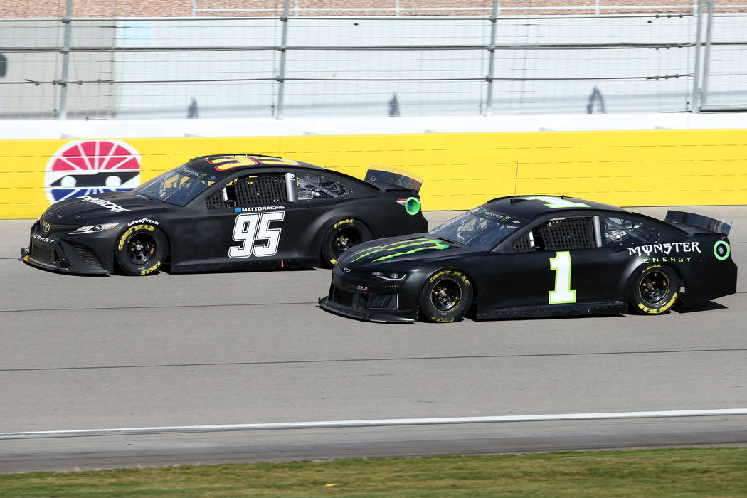NASCAR driver and Las Vegas native Kurt Busch (1) and Matt DiBenedetto (95) during testing at Las Vegas Motor Speedway Thursday, Jan. 31, 2019. (K.M. Cannon/Las Vegas Review-Journal) @KMCannonPhoto