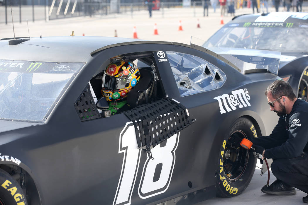 NASCAR driver and Las Vegas native Kyle Busch waits while a crew member checks his car during testing at Las Vegas Motor Speedway Thursday, Jan. 31, 2019. (K.M. Cannon/Las Vegas Review-Journal) @K ...