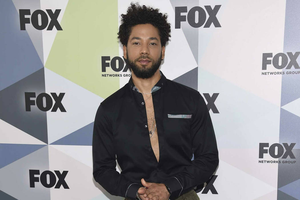 """Jussie Smollett, a cast member in the TV series """"Empire,"""" attends the Fox Networks Group 2018 programming presentation afterparty in New York on May 14, 2018. (Evan Agostini/Invision/AP, File)"""