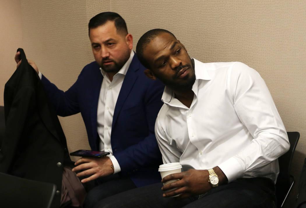 UFC light heavyweight champion Jon Jones awaits his licensing hearing at the Nevada Athletic Commission meeting in Las Vegas, Tuesday, Jan. 29, 2019. (Heidi Fang /Las Vegas Review-Journal) @HeidiFang