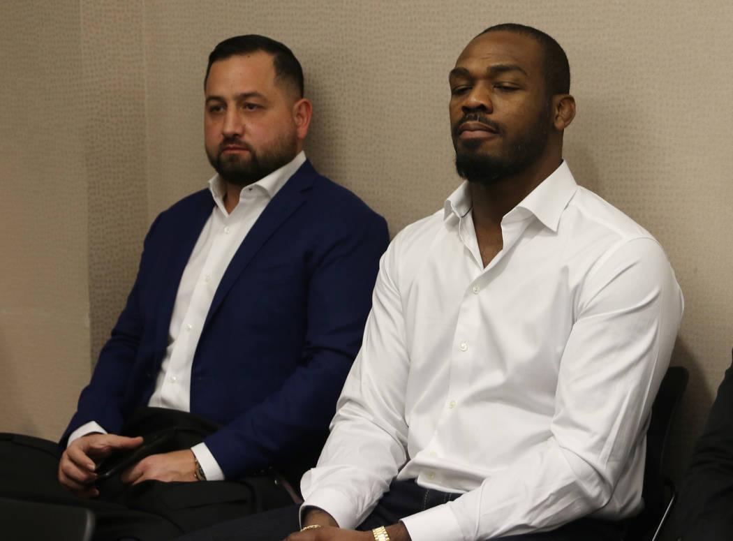UFC light heavyweight champion Jon Jonest awaits his licensing hearing at the Nevada Athletic Commission meeting in Las Vegas, Tuesday, Jan. 29, 2019. (Heidi Fang /Las Vegas Review-Journal) @HeidiFang