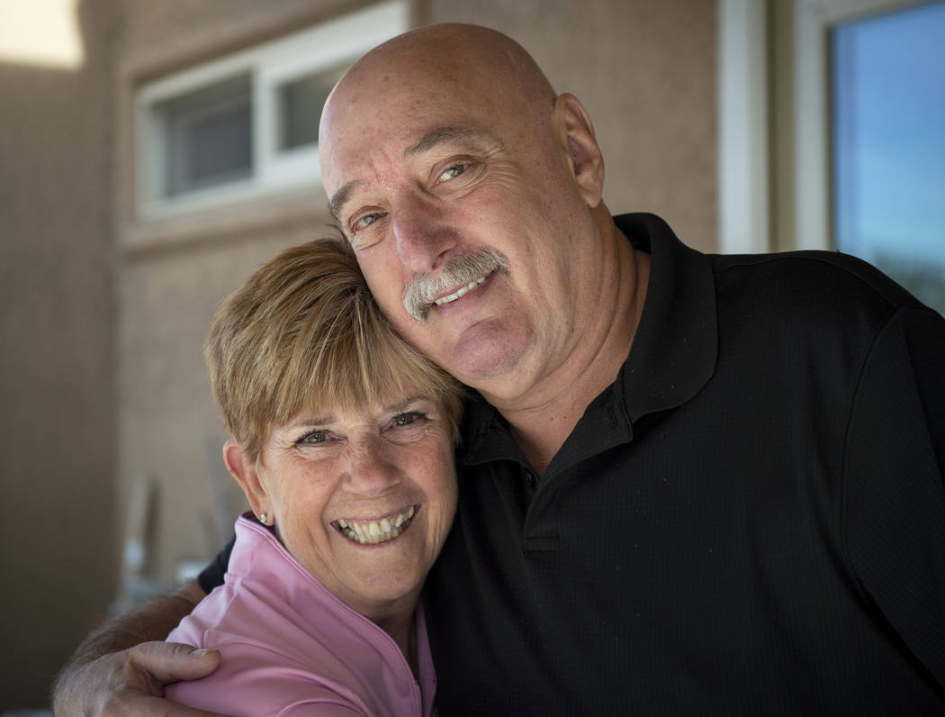 Wife and husband Rosie and Aaron Walisever pose for a photograph outside of their home in Las Vegas, Wednesday, Jan. 30, 2019. (Caroline Brehman/Las Vegas Review-Journal)