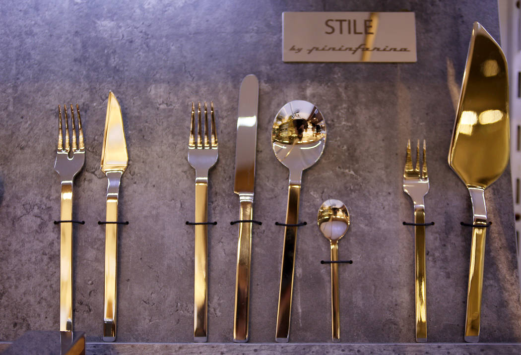 The flatware line styled by Pinin Farina at the Mepra flatware showroom at the Las Vegas Market at the World Market Center in Las Vegas, Tuesday, Jan. 29, 2019. (Rachel Aston/Las Vegas Review-Jour ...
